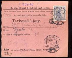 Hungary  Debreczen 1914   Telephonic - Ticket    Telefonische - Ticket     TELEPHONE RECEIPT   Tavbeszelo - Jegy - Télégraphes