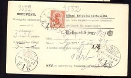 Hungary   EGER   1914  Telephonic - Ticket    Telefonische - Ticket     TELEPHONE RECEIPT   Tavbeszelo - Jegy - Télégraphes