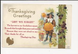 CP Des USA  - Thanksgiving - Gaufré - Embossed - Relief - Citrouille - Oblitération Drapeau De New York - Thanksgiving