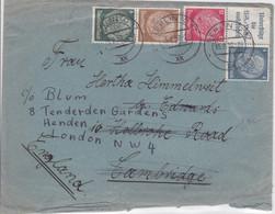 REICH - 1939 - ENVELOPPE De BERLIN Pour LONDON (GB) REEXPEDIEE De CAMBRIDGE - PUBLICITE PROPAGANDE BIENFAISANCE NS - Alemania