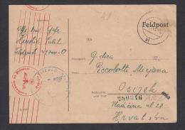 POSTAL CARD - WW II. Germany OKW Zensur - Censorship, Feldpost 41700 - O, Year 1943 - Militaria