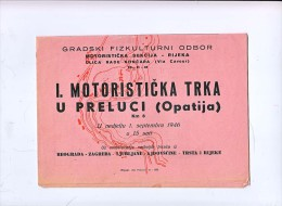 AK MOTORRÄDER OPATIJA I.MOTORISTICKA TRKA U PRELUCI 1.SEPTEMBAR 1946. PROGRAMM - Motorräder
