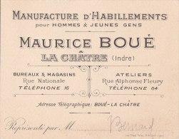 ¤¤  LA CHATRE  - Carte De Visite Maurice Boué - Manufacture D'Habillements Pour Hommes & Jeunes Gens - Cartes De Visite