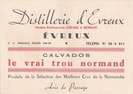 """¤¤  -  EVREUX  -  CDV De La Distillerie D'Evreux , Anciens Etablissements """" Leblanc & Monduit """"  -  &c - Cartes De Visite"""