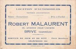 """¤¤  -   BRIVE  -  CDV De """" Robert MALAURENT """" 37 Avenue Jean-Jaures  -  Location D'Automobiles -  ¤ - Cartoncini Da Visita"""