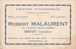 "¤¤  -   BRIVE  -  CDV De "" Robert MALAURENT "" 37 Avenue Jean-Jaures  -  Location D'Automobiles -  ¤ - Visiting Cards"
