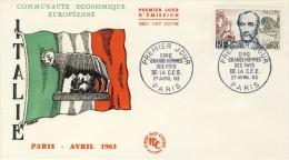 FDC 1963 COMMUNAUTE ECONOMIQUE EUROPEENNE # DRAPEAU ITALIE # LOUVE ROMULUS ET REMUS # MAZZINBI - 1960-1969