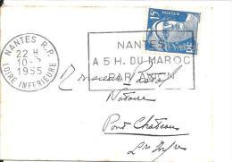 """Petite Enveloppe De Carte De Visite .FlamMe """"NANTES A 5 H DU MAROC PAR AVION"""" 1955 Sur Gandon N° 886 - Marcophilie (Lettres)"""