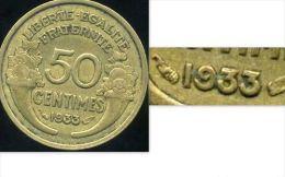 FRANCE  50 Centimes 1933 Morlon     ( Le 9 Fermé ) - G. 50 Centimes