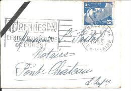 """Petite Enveloppe De Carte De Visite .Flamme """"RENNES CENTRE TOURISTIQUE DE L´OUEST"""" 1955 Sur Gandon N° 886 - Marcophilie (Lettres)"""
