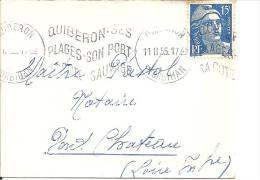 """Petite Enveloppe De Carte De Visite .Flamme """"QUIBERON SES PLAGES SON PORT SA COT SAUVAGE"""" 1955 Sur Gandon N° 886 - Marcophilie (Lettres)"""