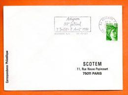 84 AVIGNON   35° FESTIVAL   18  /  5  / 1981      Lettre Entière N° C 978 - Marcophilie (Lettres)