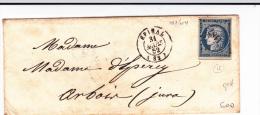 VOSGES - 1852 - CERES LUXE Sur ENVELOPPE De EPINAL Avec PC 1187 + T15 Pour ARBOIS - Marcophilie (Lettres)