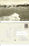 Caletta Di Castiglioncello (Livorno): Spiaggia. Cartolina B/n Anni '50 Viaggiata 1960 (animata, Mosconi, Stab. Balneare - Livorno