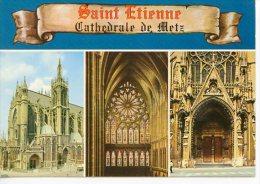 Metz : Cathedrale Multivues Parchemin Portail Vierge Tour Motte Vitrail Grande Nef Porche - Estel - Metz