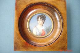"""Miniature Sur Ivoire 1900\"""" Pauline Bonaparte\"""" ,soeur De Napoléon.Signée Dampierre. - People"""