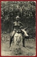 GUINE BISSAU - COSTUMES - MULHER MONTANDO UM BOI - 1950  REAL PHOTO  PC - Guinea-Bissau