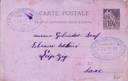 COLONIES GENERALES - 1891 - CARTE ENTIER POSTAL ALPHEE De POINTE à PITRE (GUADELOUPE) Pour LEIPZIG (SAXE) NON OBLITEREE - Alphée Dubois