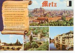 Metz : Multivues Parchemin Générale Moselle Temple Protestant Porte Allemands Quartie Rénové - Metz