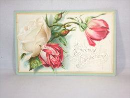 Chromo. Roses. Sincères Félicitatons. Ecrite à Bruges Le 24 Mars 1887; - Trade Cards