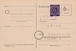 25.8.47 SELTENERE Not-Ganzsache, Gest. Kloster Oesede. MK - Soviet Zone