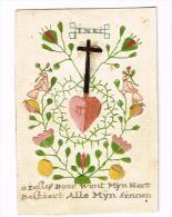 """IMAGE RELIGIEUSE Cousue, Colorisée, 11,8 X 8,2 Cm, """"Alle Myn Sinnen"""" - Images Religieuses"""