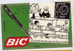Buvard BIC Stylo -planisphere Fusée école Maitre Elèves Division - Dessin De EFFEL Tampon BELLOT Nancy - Stationeries (flat Articles)