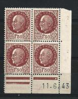 """Coins Datés YT 517 """" Maréchal Pétain 1F50 Brun """" 1941-42 Neuf - Coins Datés"""
