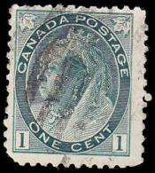 Canada Scott #  75, 1¢ Gray Green (1898) Queen Victoria, Used - 1851-1902 Règne De Victoria