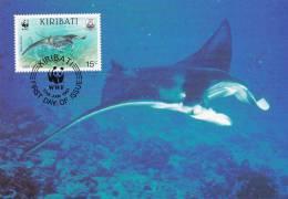 WWF - 105,31 - CM-MC - € 1,00 - 17-1-1991 - 15c - Whale Shark And Manta Ray - Kiribati 1108212 - Kiribati (1979-...)