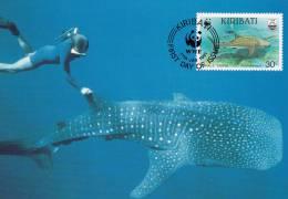 WWF - 105,33 - CM-MC - € 1,12 - 17-1-1991 - 30c - Whale Shark And Manta Ray - Kiribati 1108212 - Kiribati (1979-...)