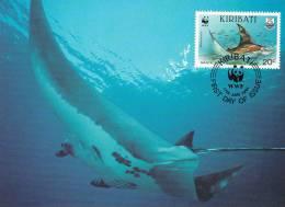 WWF - 105,32 - CM-MC - € 1,06 - 17-1-1991 - 20c - Whale Shark And Manta Ray - Kiribati 1108212 - Kiribati (1979-...)