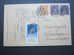 1922, Kinderhilfe Auf Auslandskarte Aus Lübeck Nach Dänemark, Unten Randkerben - Germany