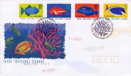 AUSTRALIEN (Cocos (Keeling) Islands) 1996 - 4 Facher Frankierung (Fische) Auf Schmuckbrief (Marine Life) - 1990-99 Elizabeth II