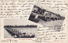 GENIO / Un Ponte Di Barche - Vedutine _ Viaggiata 1904 - Manovre
