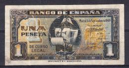 ESPAÑA 1940 1 PESETA.CARABELA STª MARIA. MBC+  SERIE A .RARO. B315 - [ 3] 1936-1975 : Régence De Franco
