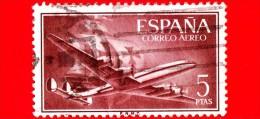 """SPAGNA - Usato - 1955 - Super Costellazione E Nave """"Santa Maria"""" - Posta Aerea -  5 - Usati"""