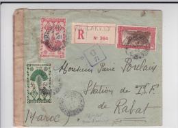 MADAGASCAR - 1945 - ENVELOPPE RECOMMANDEE De ANALAKELY Avec CENSURE G22 Pour RABAT (MAROC) - RARE DESTINATION - Lettres & Documents