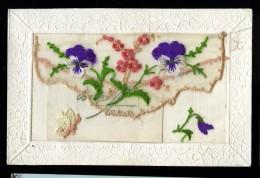 Cpa Brodée Violette Papillon Avec Pochette  MABT38 - Ricamate