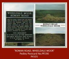 "P4505  ""Roman Road, Wheeldale Moor, Near Goathland…""  (c.1980's. Colour Photogravure Multi-view Postcard) - England"