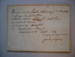 Bolla Di Consegna Montaleo-Alessandria 1844 - Fatture & Documenti Commerciali