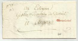 """AN 3 (1795) - LETTRE De PARIS Avec MARQUE DE FRANCHISE """"TRESORERIE NATIONALE"""" - 1701-1800: Precursors XVIII"""