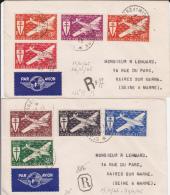 ST PIERRE ET MIQUELON - 1944 - RARE SERIE COMPLETE POSTE AERIENNE FRANCE LIBRE Sur 2 ENVELOPPES RECOMMANDEES Pour VAIRES - St.Pierre & Miquelon