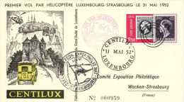 Luxembourg 1952 Mi. 491 On Card 31-May-52, 1st Post Transport By Helicopter Luxembourg - Strasbourg - Luftpost