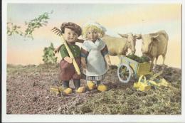 Antica Cartolina Vita Contadina Prodotta Fotografando Delle Bambole - Farmers