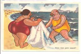"""BAIGNEUSES -  Humour - """" Viens Mon Petit Canard """"  Couple Imposant - Humour"""