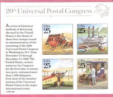 USA UNIVERSAL POSTAL CONGRESS 1989 2 BLOCS MNH SPACE MAIL TRANSPORT - Etats-Unis