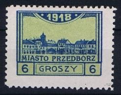 Poland Local Issues 1917 Przedbórz, Mi 5 Type 2, Signed MH/*, Perfo 10