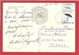 N°Y&T CP PORT LOUIS  Vers   FRANCE  Le   14 NOVEMBRE1988(2 SCANS) - Maurice (1968-...)
