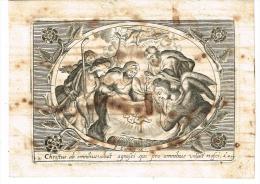 """IMAGE RELIGIEUSE 8,4 X 11,6 Cm, """"Chriftus Ab Omnibusvoluit Agnofei Qui Pro Omnibus Voluit Nafci"""" - Devotieprenten"""
